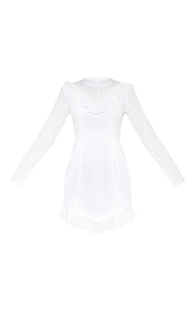 White Broderie Anglaise Frill Collar Shift Dress 3