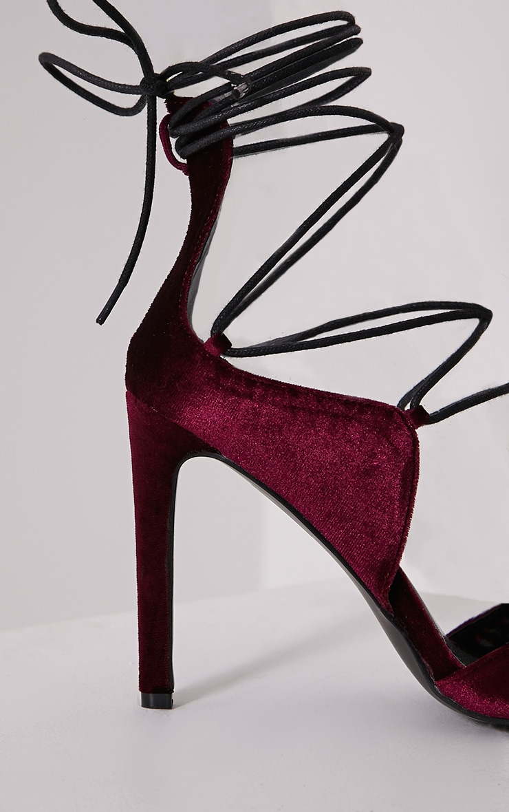 Heidey Burgundy Velvet Lace Up Heels 6