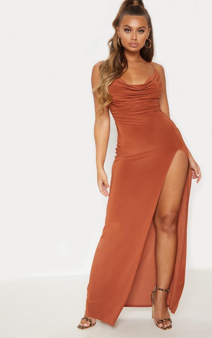 Terracotta Slinky Ruched Drape Split Leg Maxi Dress 2
