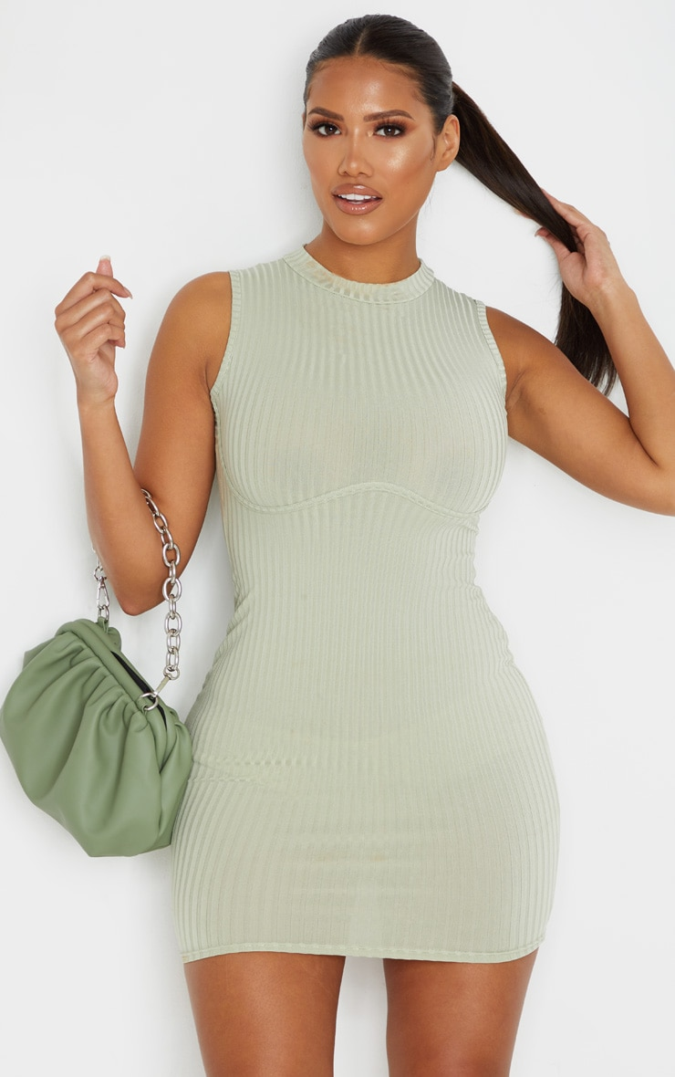 Shape Sage Green Rib Bust Detail Bodycon Dress 1