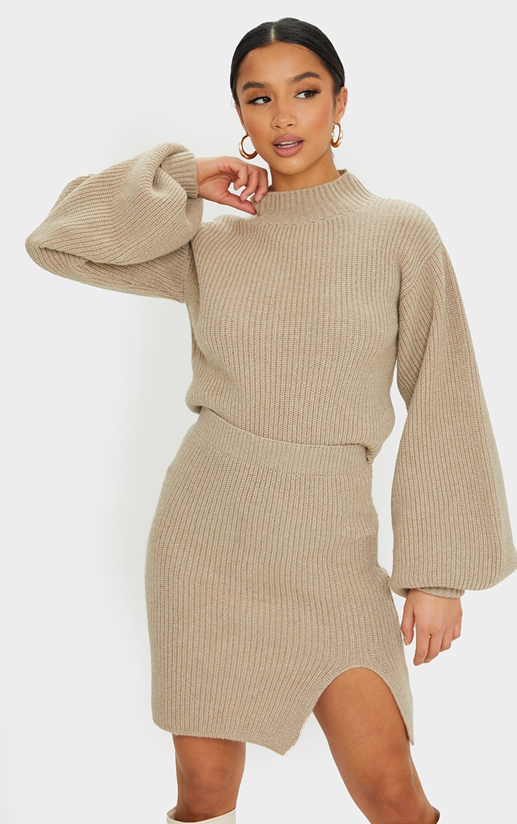 Petite Stone Knitted Split Bodycon Skirt 4