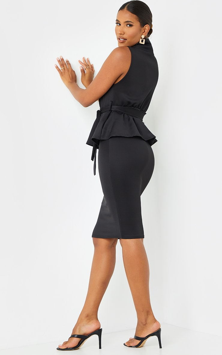 Black High Neck Tie Waist Peplum Midi Dress 2