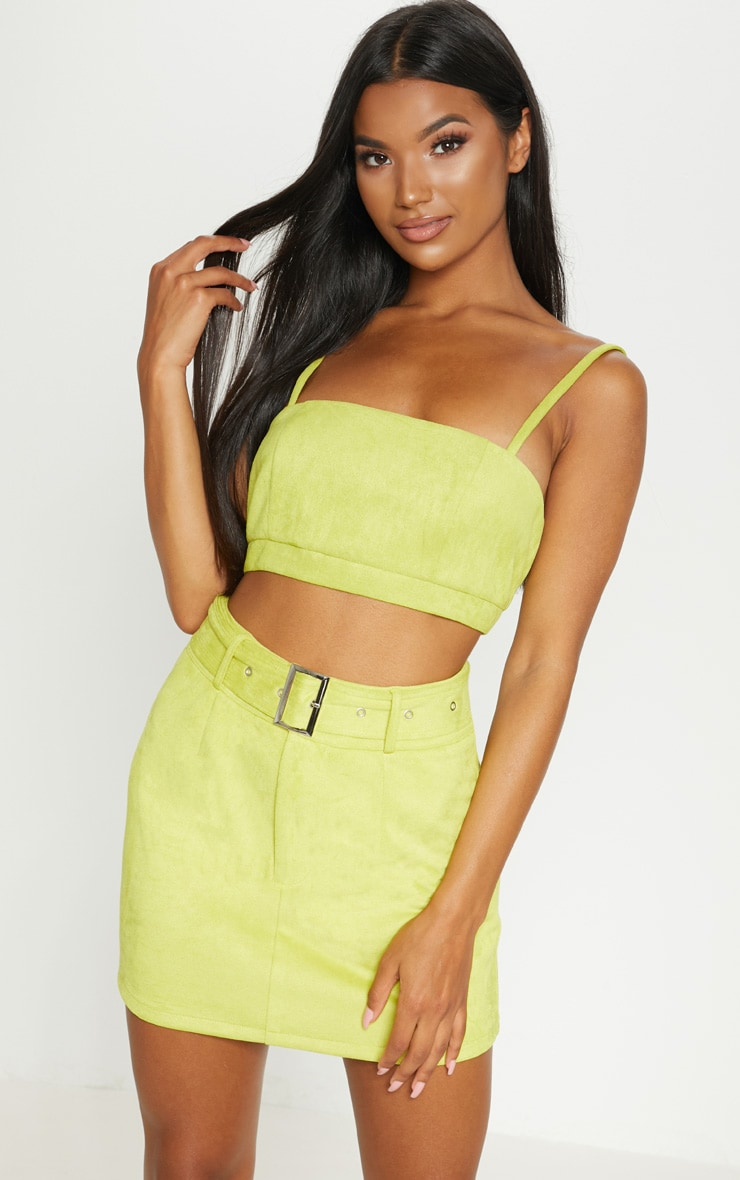 Lime Green Bonded Suede Strappy Crop Top  6