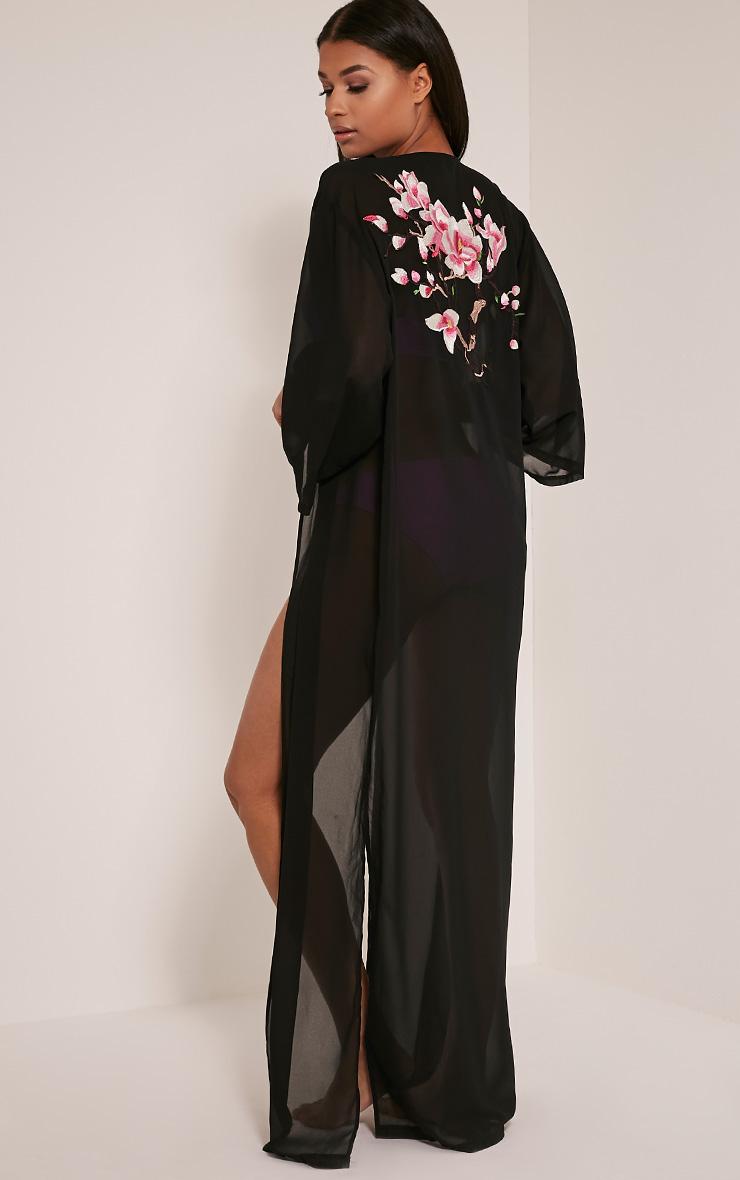 Sharley Black Floral Embroidery Maxi Kimono 4