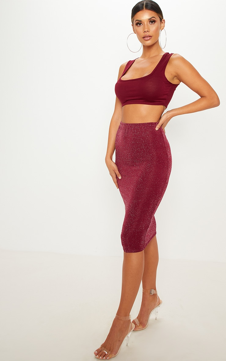 Maroon Lurex Midi Skirt