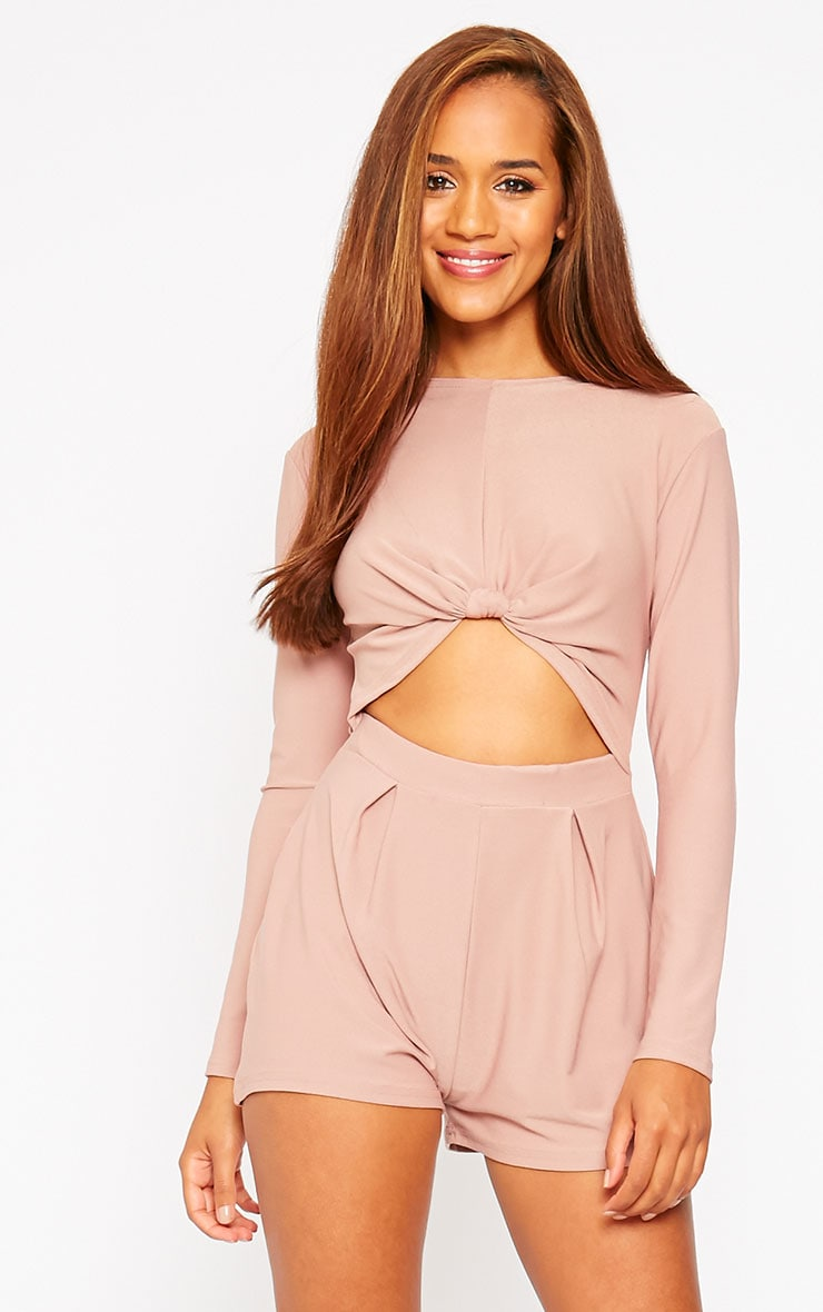 Havana Dusty Pink Crepe Knot Front Cut Out Playsuit 1