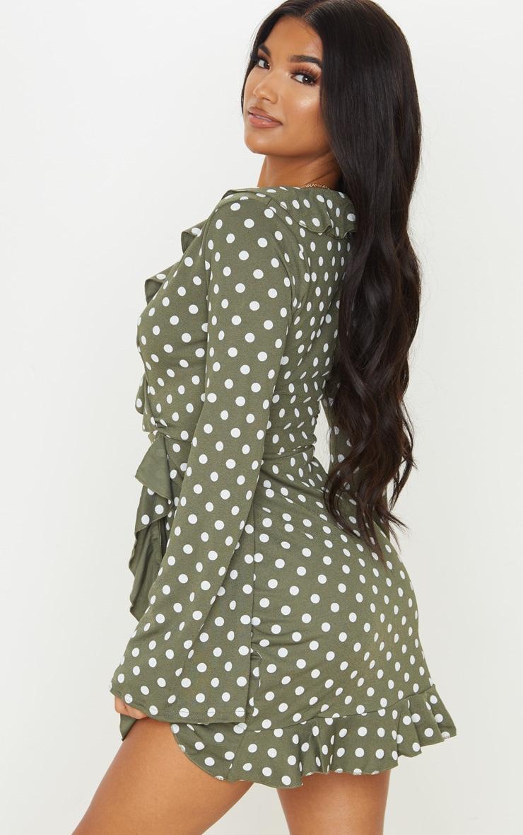 Green Polka Dot Long Sleeve Wrap Tea Dress 2