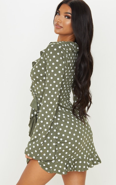 Green Polka Dot Long Sleeve Wrap Tea Dress