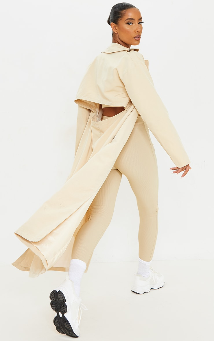 Stone Woven Cut Out Back Maxi Trench 1