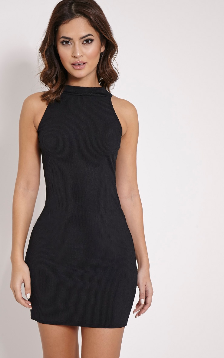 Basic Black Ribbed Vest Bodycon Dress 1