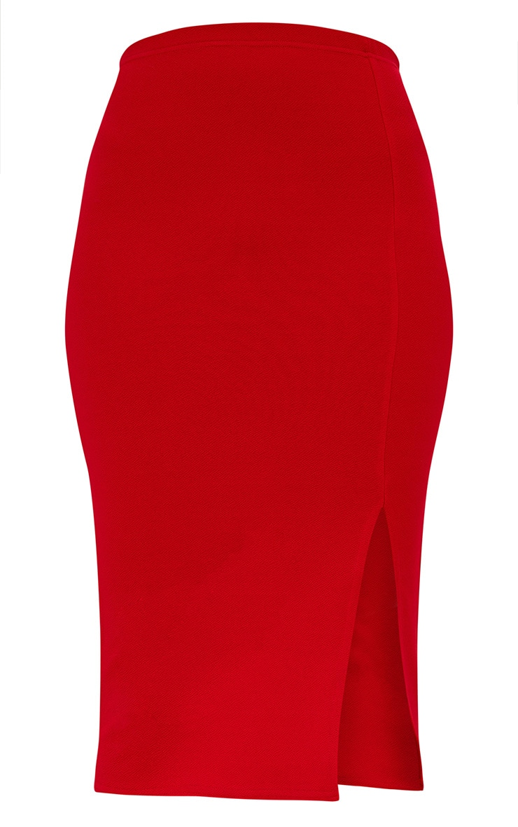 Red Basic Split Midi Skirt 3