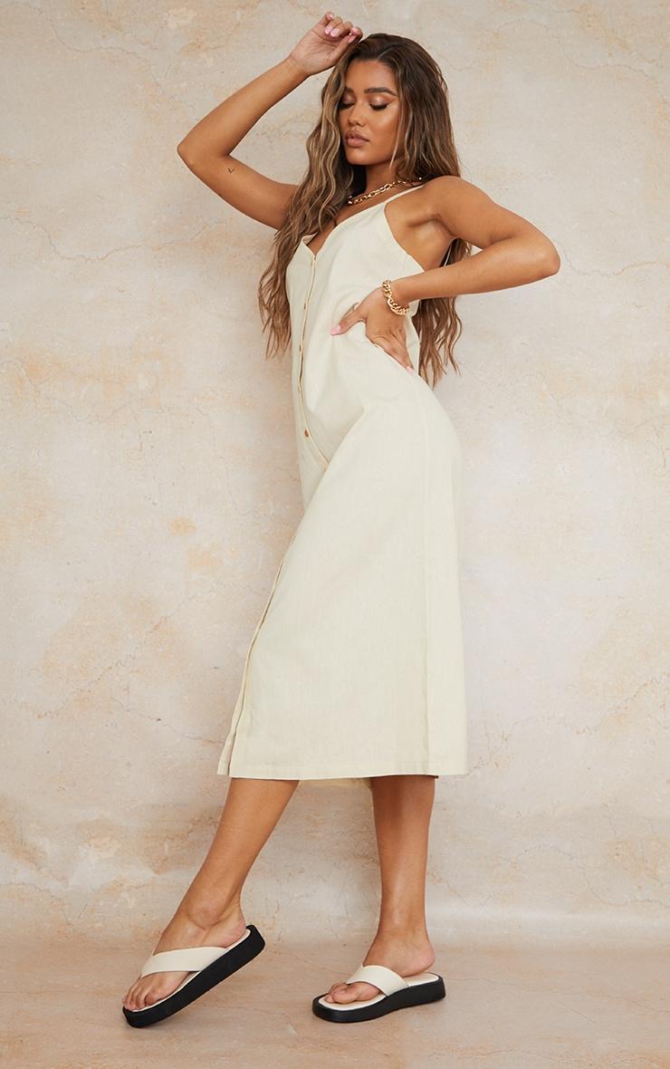 Stone Linen Look Wooden Button Down Strappy Slip Maxi Dress 3
