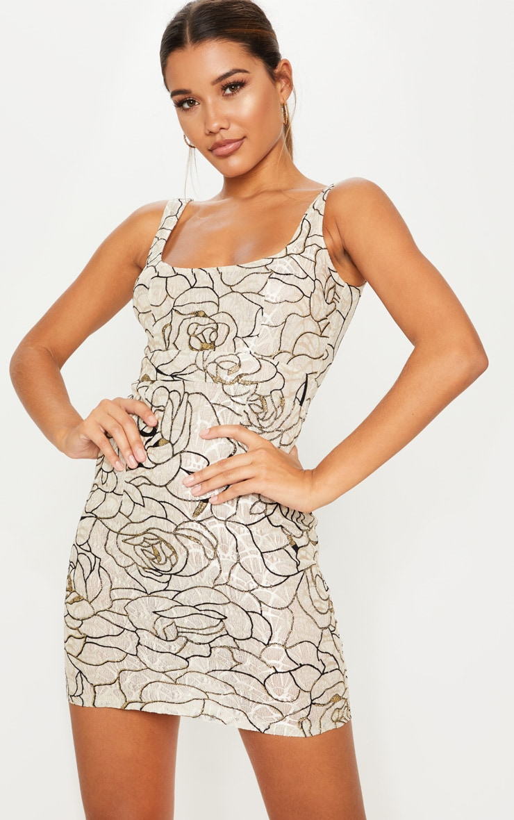 Nude Lace Glitter Floral Square Neck Bodycon Dress 1