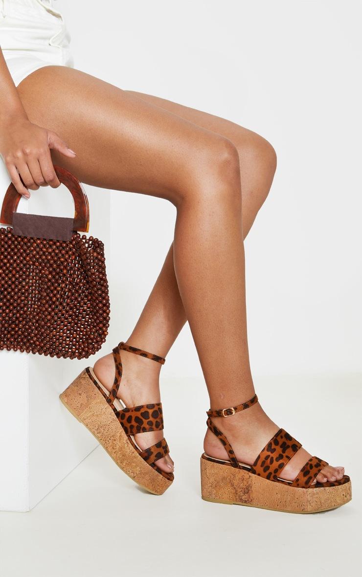 Leopard Twin Strap Cork Flatform Sandal 1