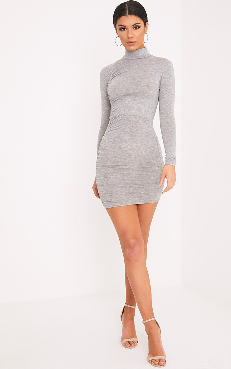 Moana Grey Marl Ruched Detail Bodycon Dress 4