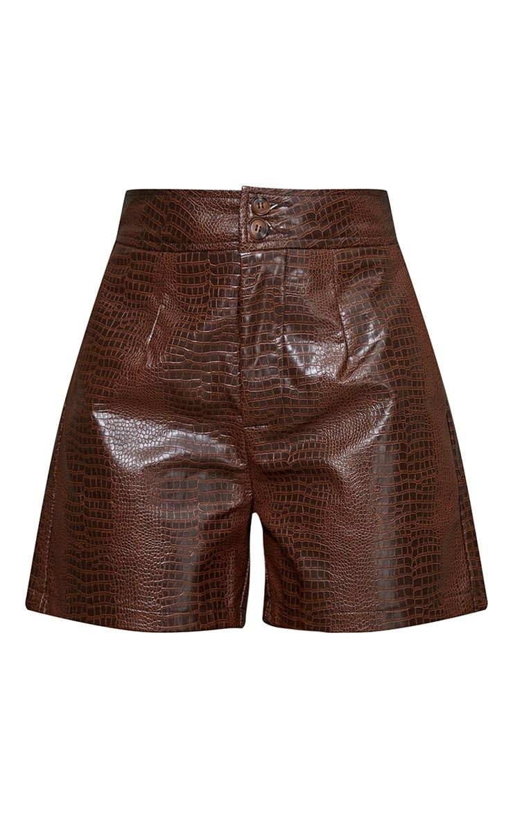 Chocolate Faux Leather Croc Effect Shorts 6