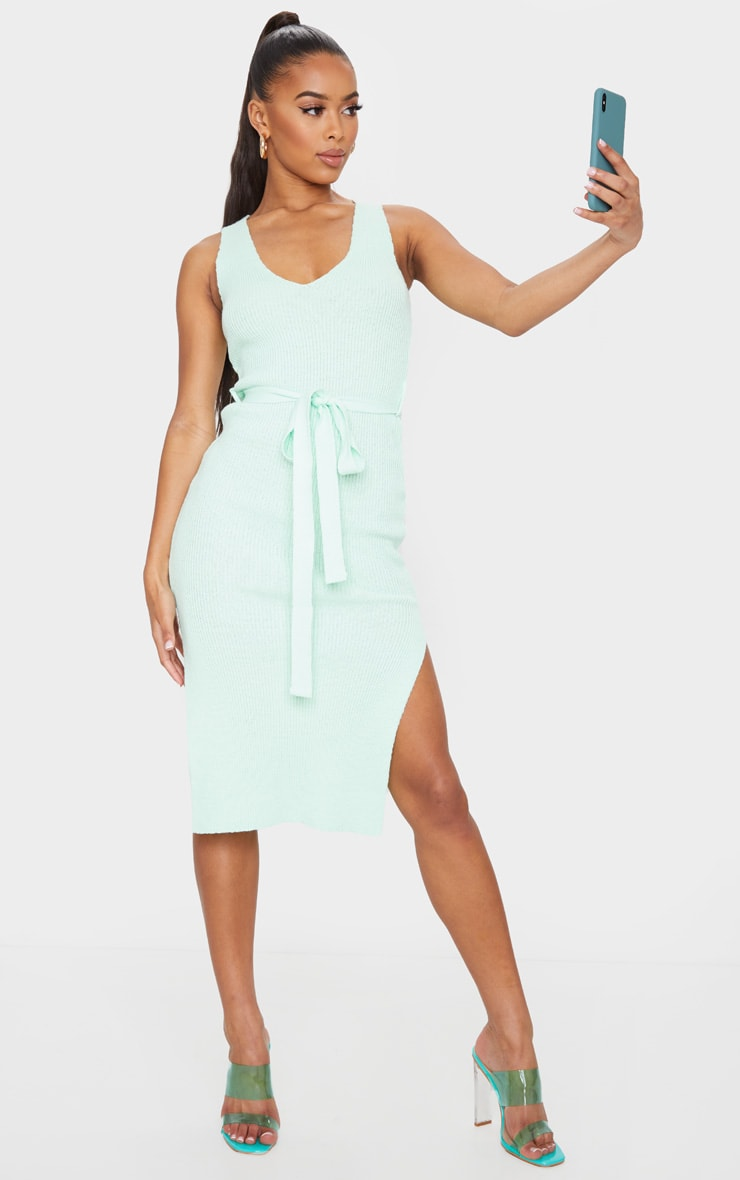 Mint Knitted Belted Split Midi Dress