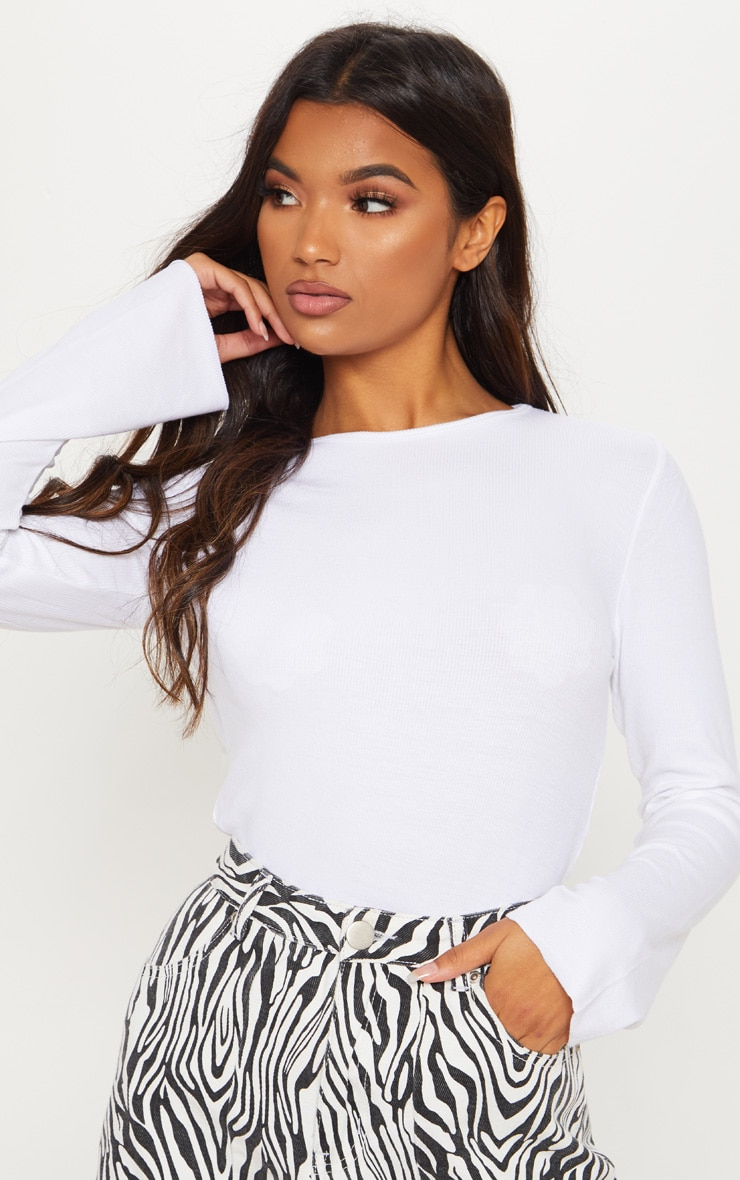 White Soft Rib Long Sleeve Crew Neck Top 5