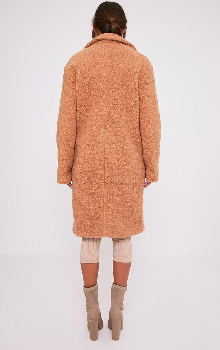 Taibah Camel Teddy Fur Longline Coat 2
