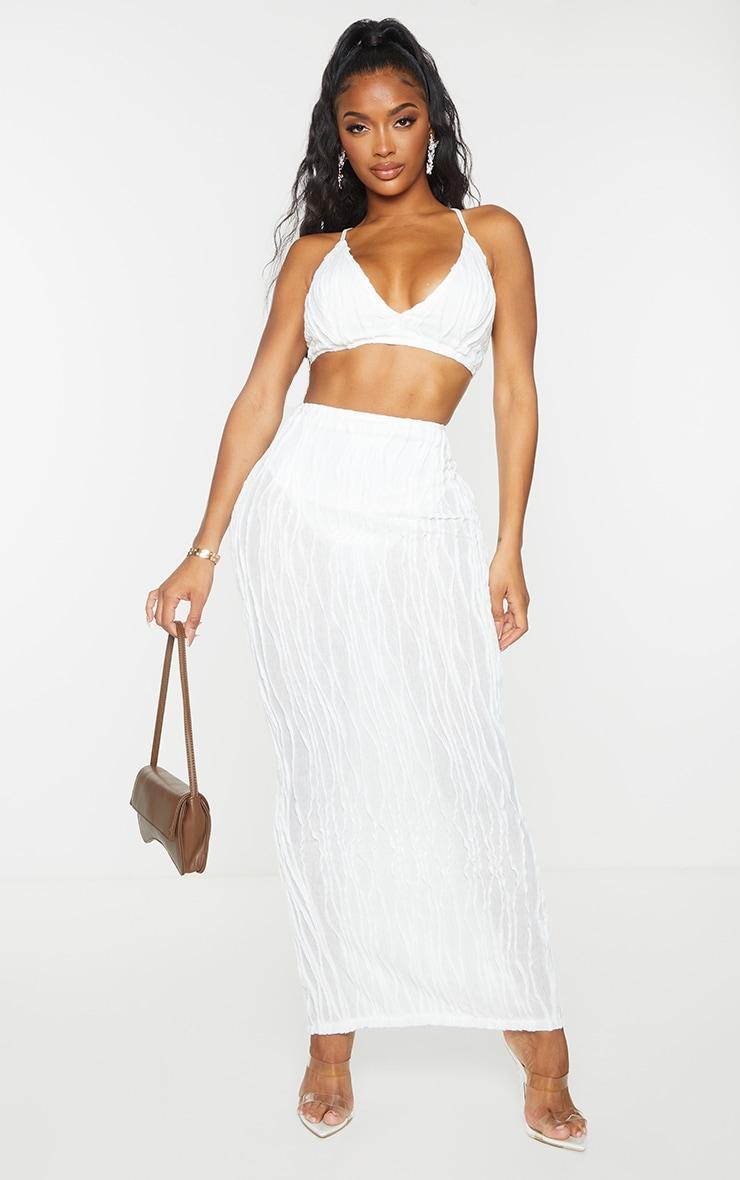 Shape White Textured Rib Midaxi Skirt 1