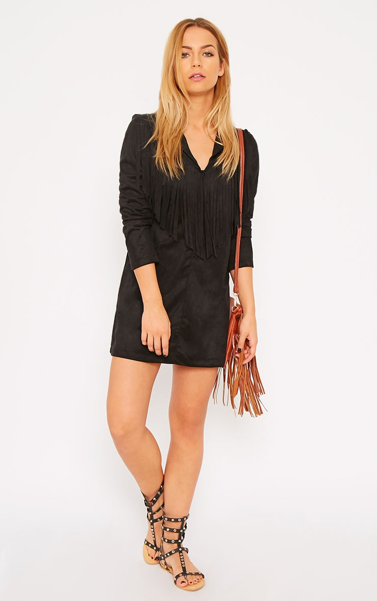 Elvin Black Suede Fringe Mini Dress 3