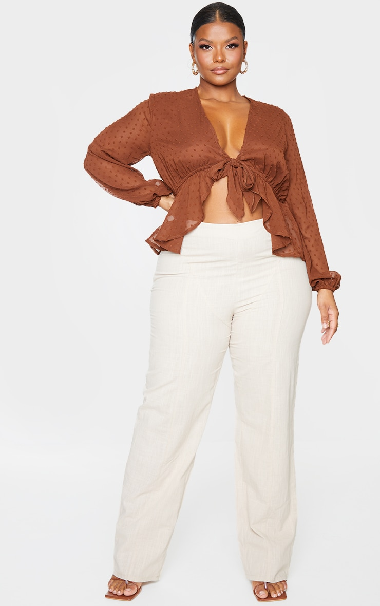 Plus Chocolate Dobby Mesh Tie Front Blouse 1