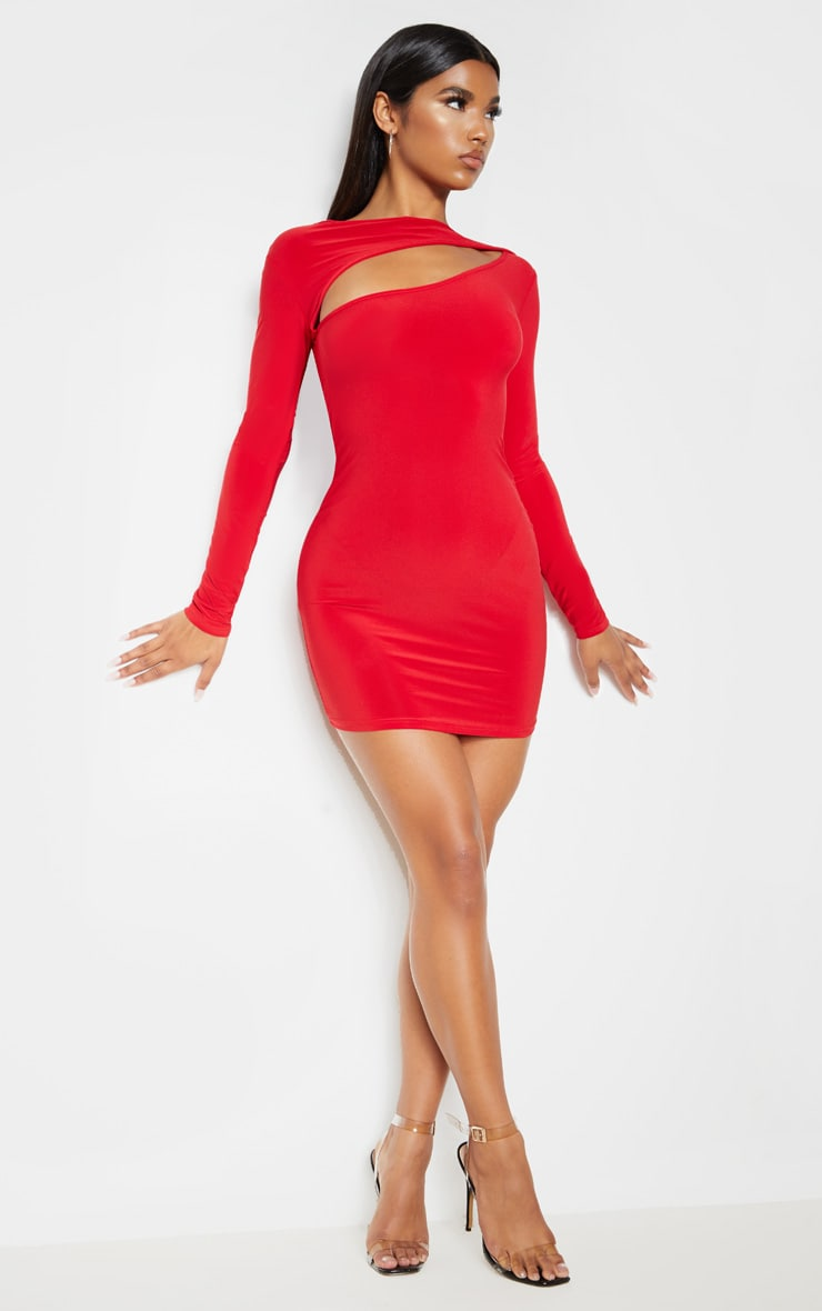 Red Slinky Long Sleeve Bodice Cut Out Bodycon Dress 1