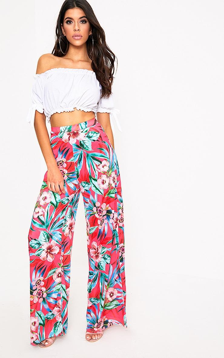 Fuchsia Tropical Floral Print Wide Leg Trousers 1