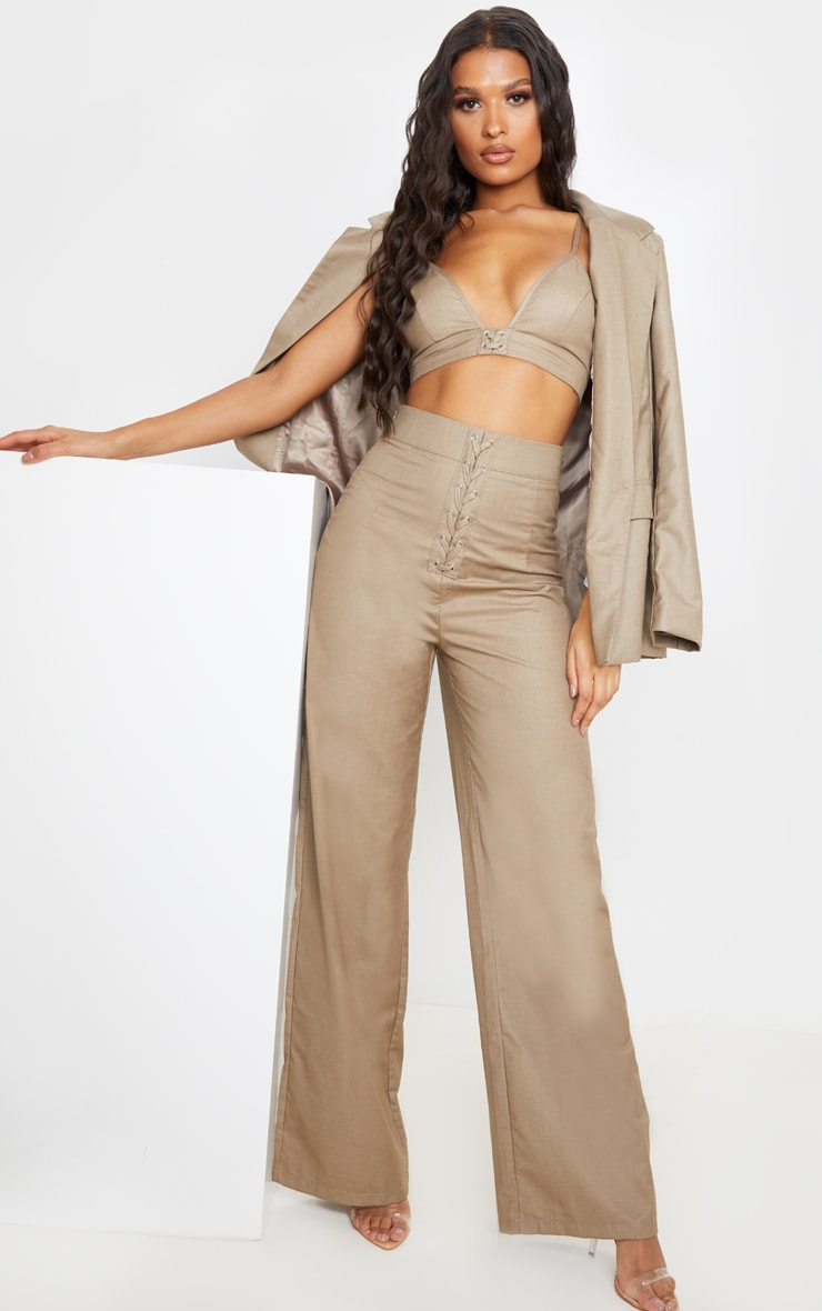 Stone Woven Extreme High Waist Wide Leg Trousers 1