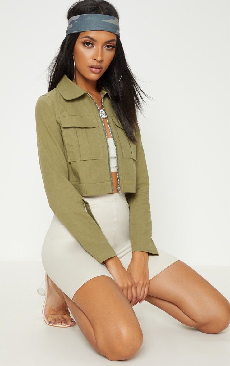 Khaki Cropped Trucker  4