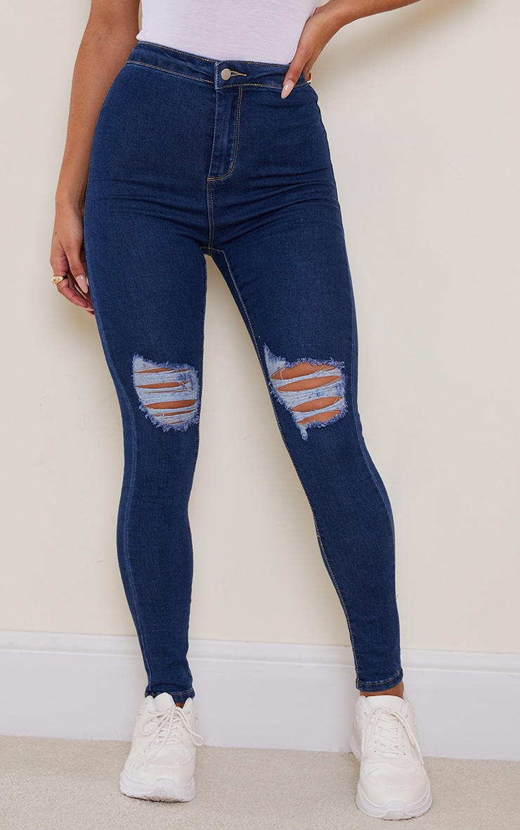PRETTYLITTLETHING Mid Blue Knee Rip Disco Skinny Jean 2