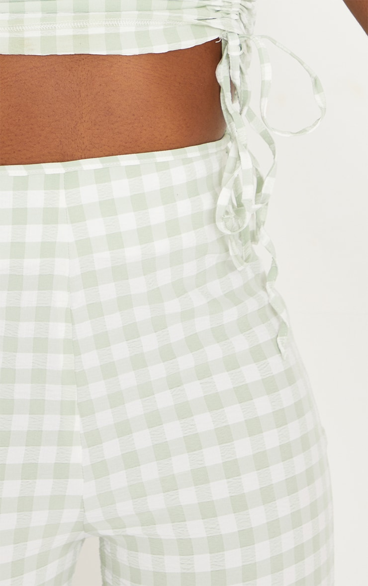 Tall Green Gingham Tie Side Trousers 4