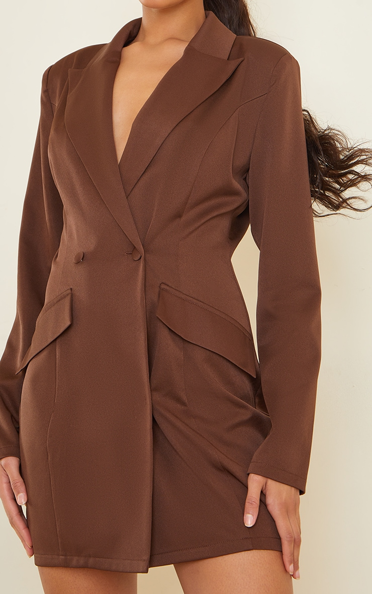 Chocolate Long Sleeve Pinched Waist Button Detail Blazer Dress 4