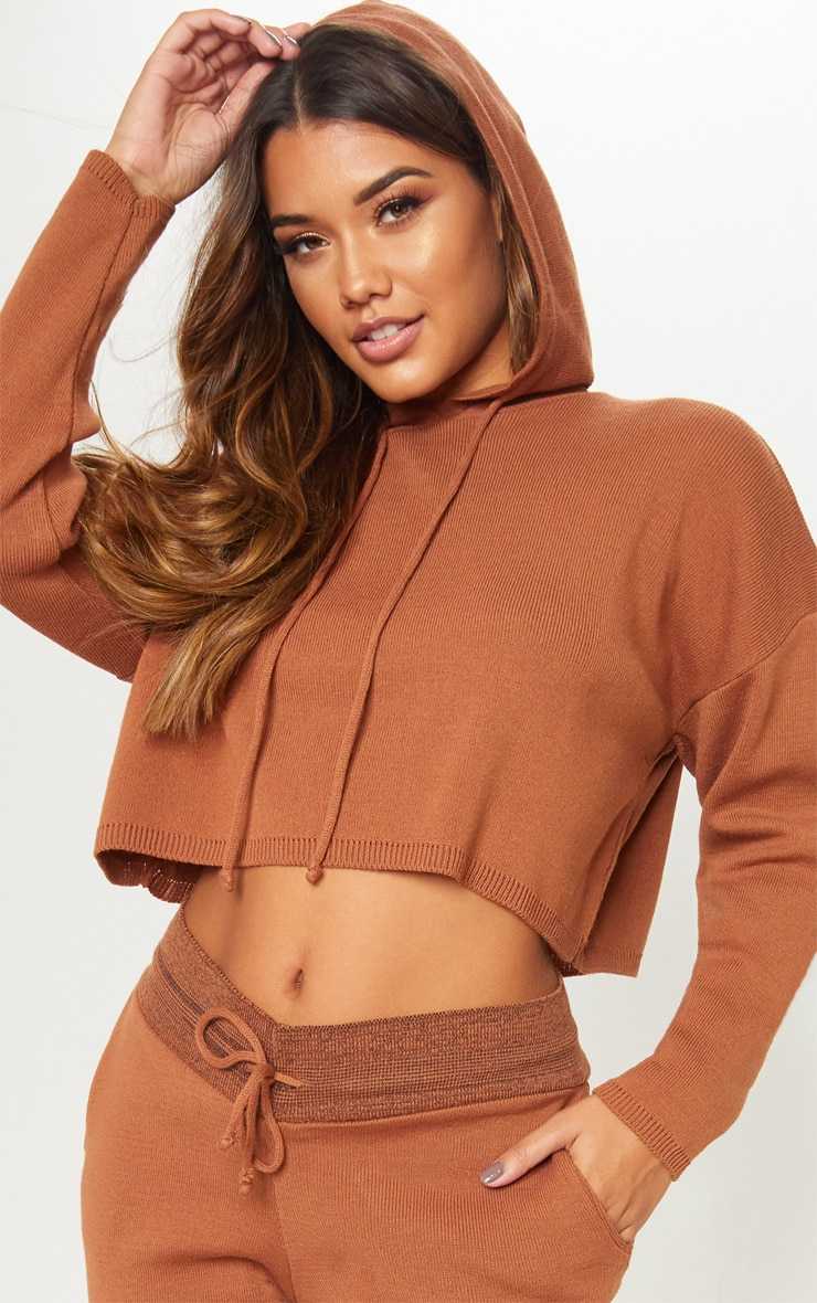 Rust Cropped Hooded Knitted Lounge Set 5