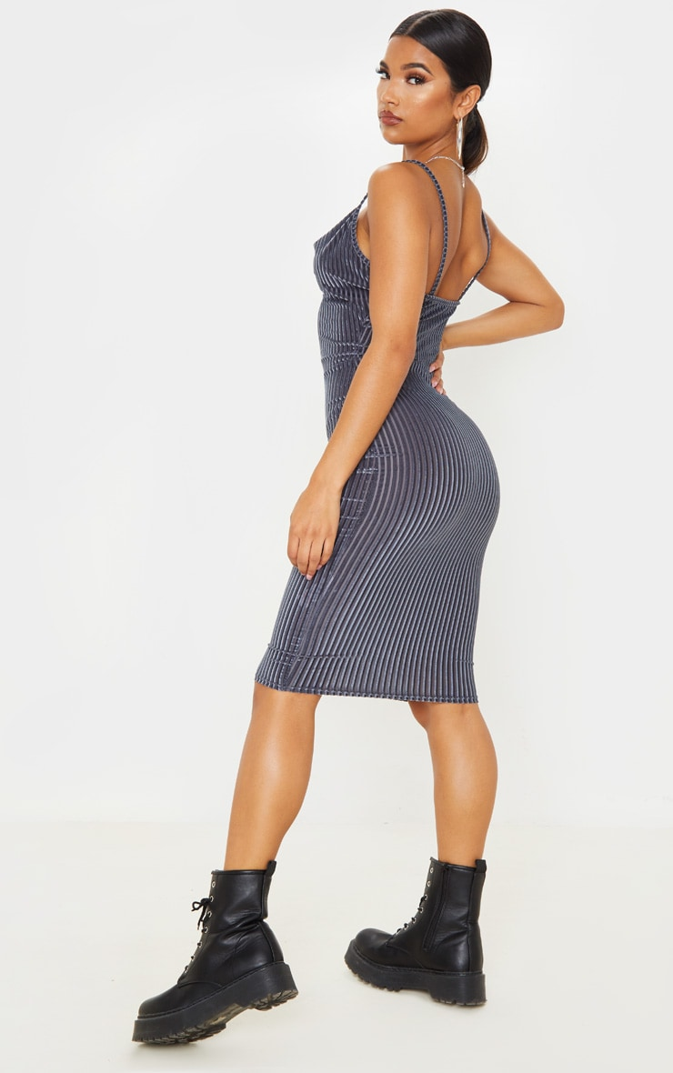 Grey Velvet Rib Cowl Neck Midi Dress 2