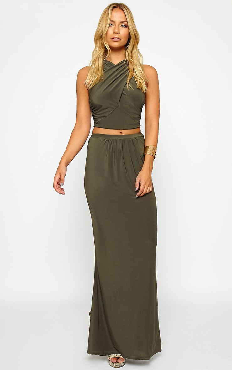 Dalia Khaki Wrap Crop Top 3