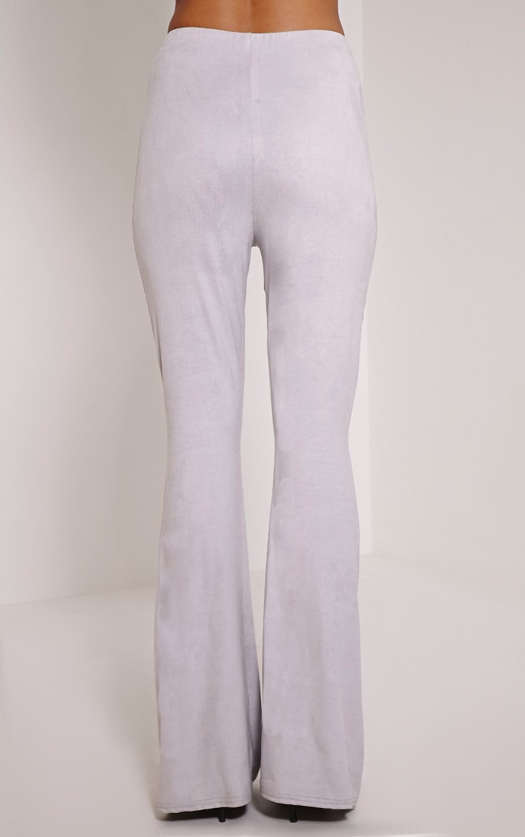 Sloan Grey Faux Suede Flared Trousers 3