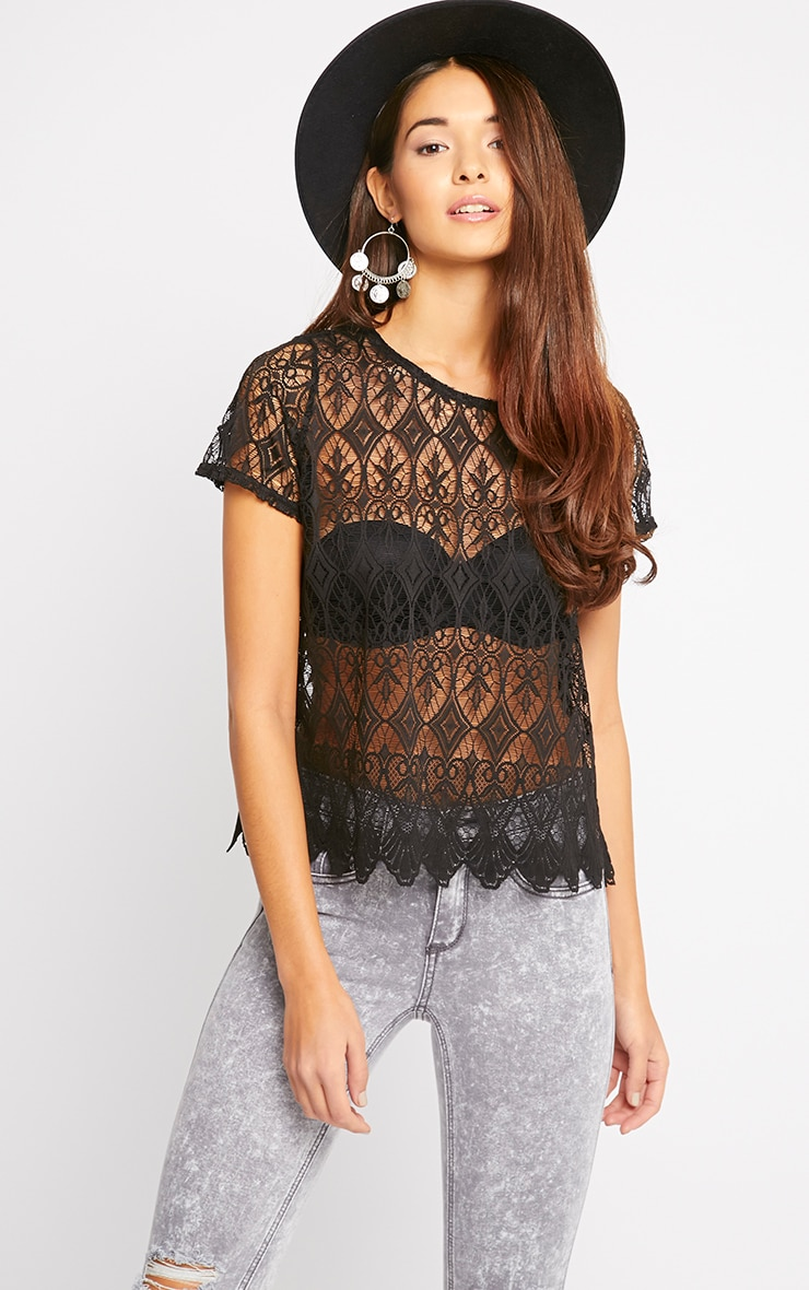 Nina Black Scallop Trim Lace Top  3