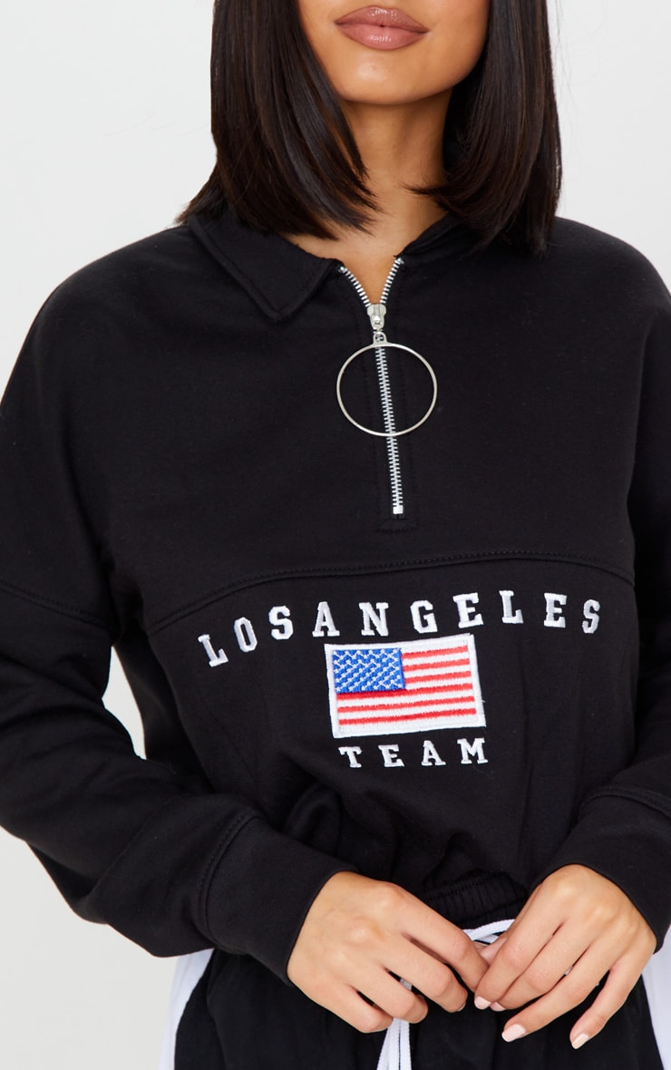 Black Los Angeles Embroidered USA Zip Sweater 4
