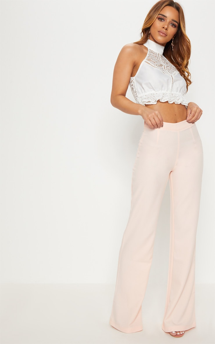 Petite White High Neck Lace Crop Top 4