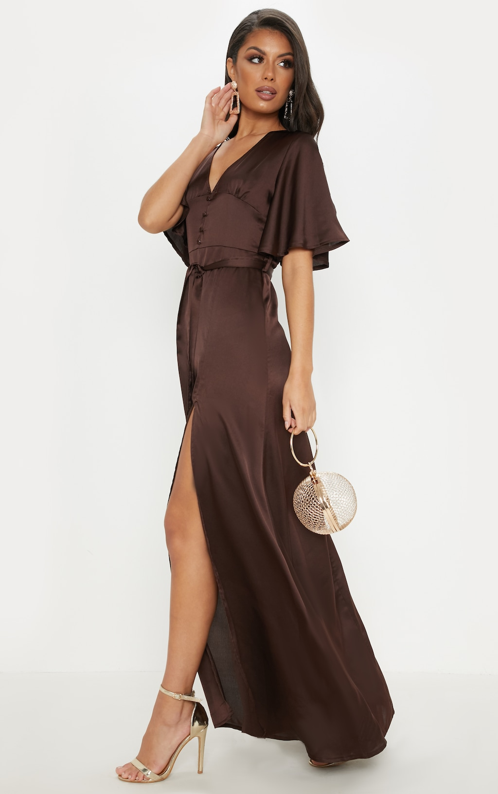 9bfb10d58b7 Chocolate Satin Button Detail Flared Sleeve Maxi Dress