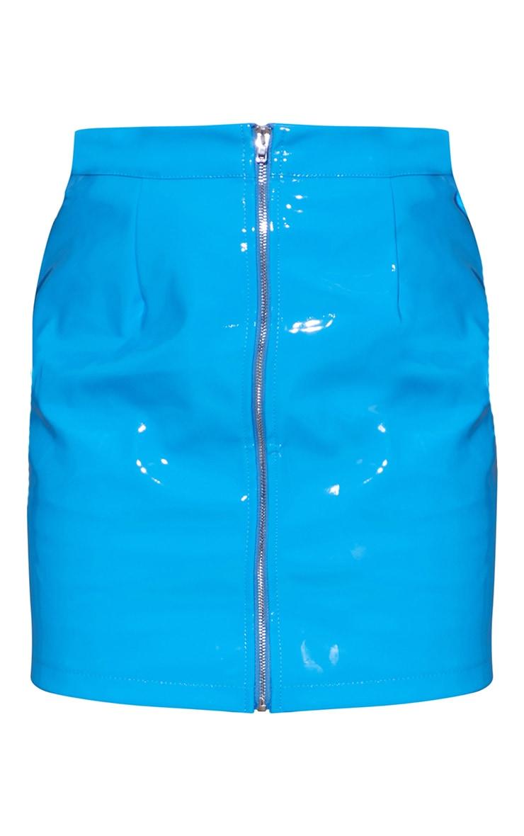 Bright Blue Vinyl Mini Skirt 6