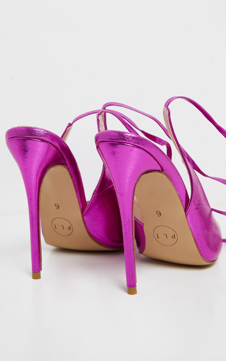 Fuschia Metallic Ankle Tie Court Shoe 5