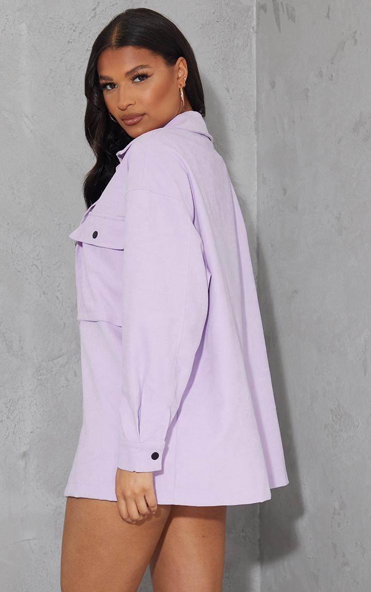 Lilac Twill Pocket Detail Oversized Boxy Shirt 2
