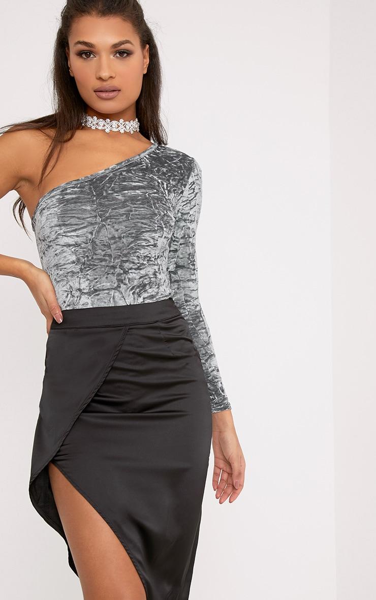 Maisy Grey Crushed Velvet One Shoulder Thong Bodysuit 1