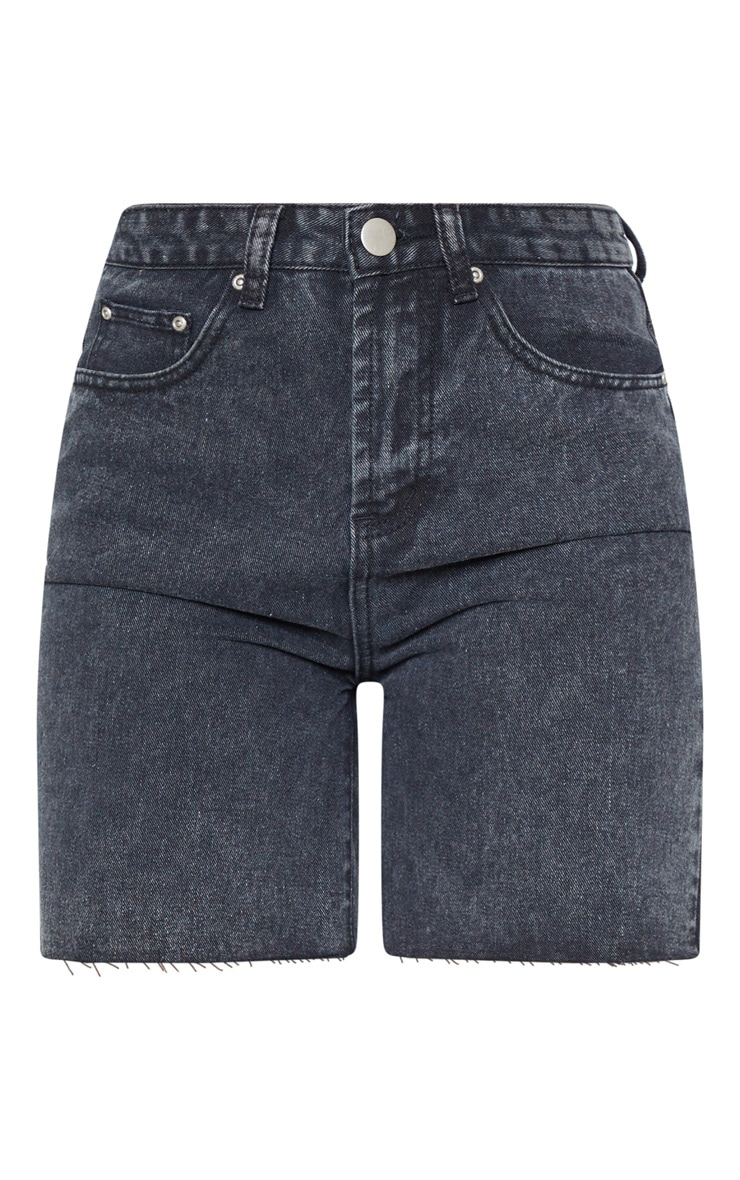 Washed Black Raw Hem Mom Shorts 3