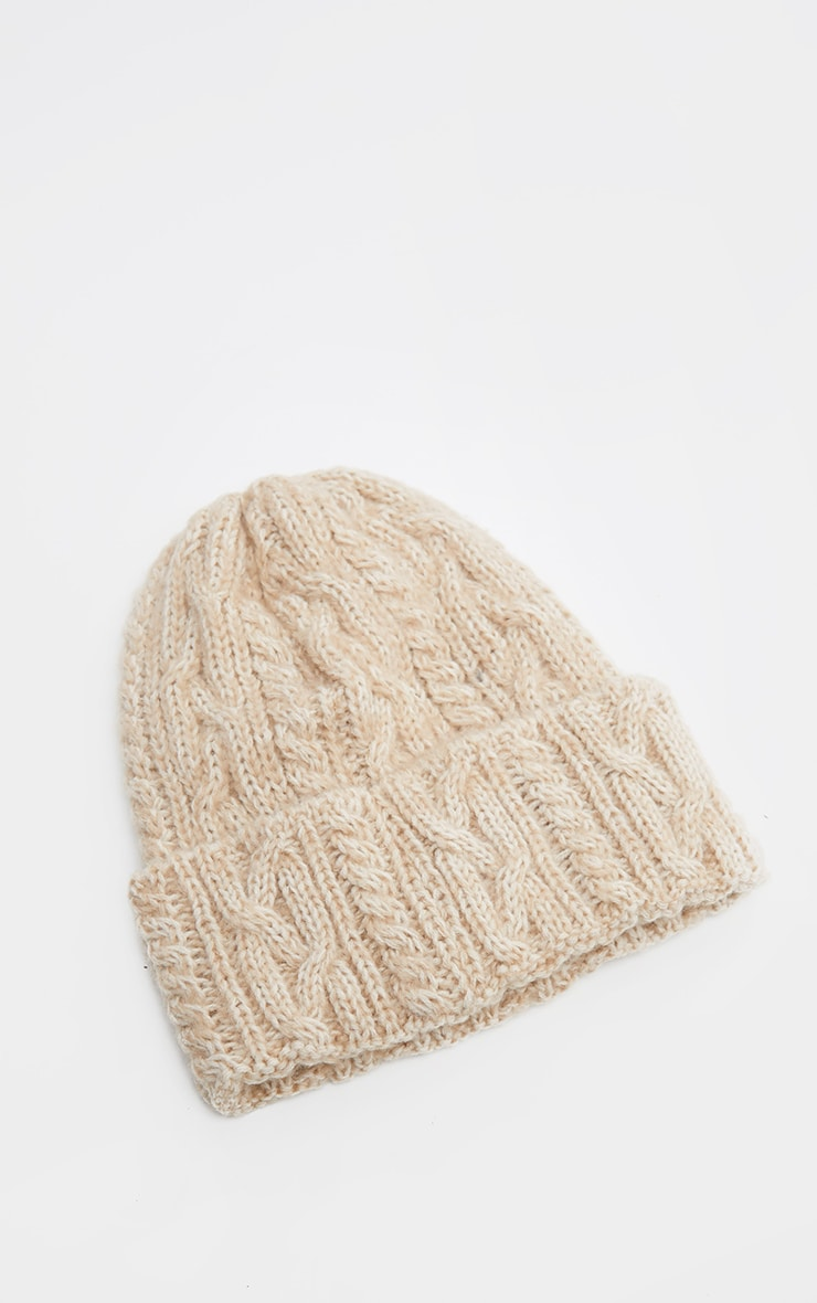 Cream Cable Knit Turn Up Beanie Hat 2