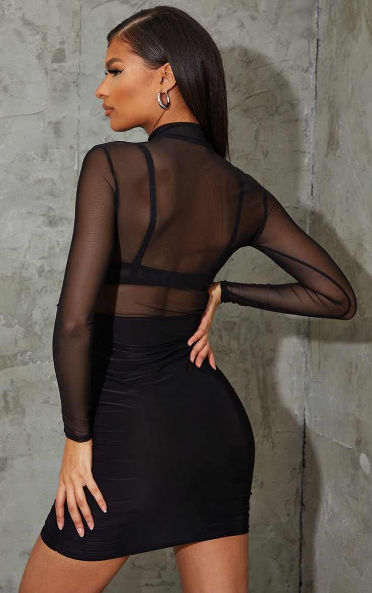 Black Mesh Underbust Detail Ruched Skirt Bodycon Dress 2