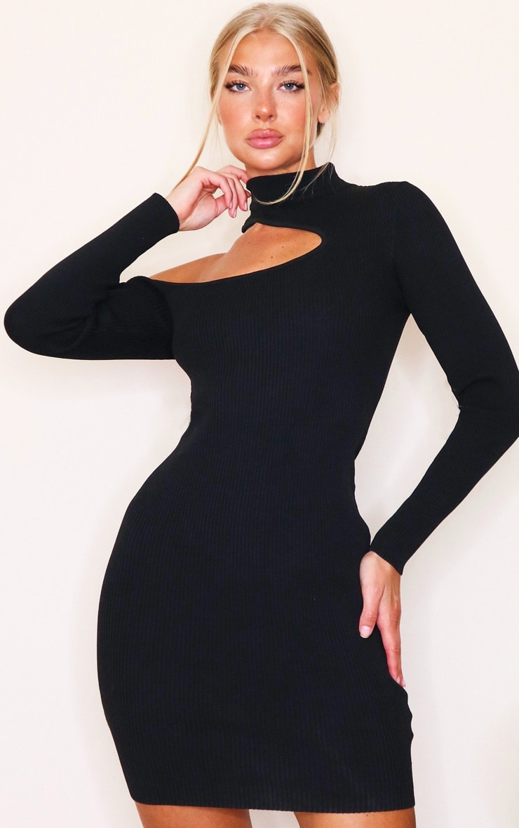 Black Slash Neck Cut Out Knitted Mini Dress 1