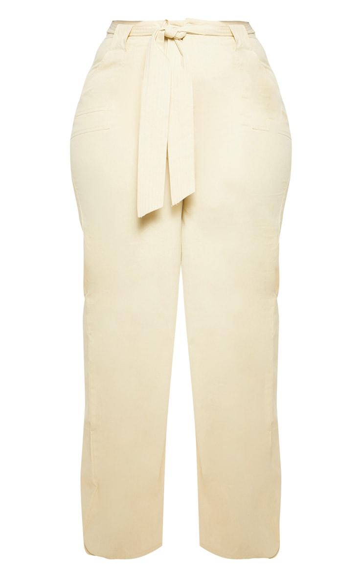 Plus Stone Woven Tie Waist Wide Leg Pants 3